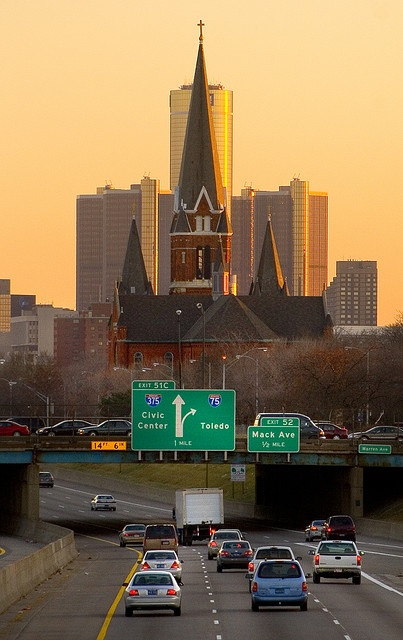 Detroit. I've always wanted to photograph the church in the backdrop of the Ren Cen. Nicely done :) THAT'S AN AWESOME PIC!
