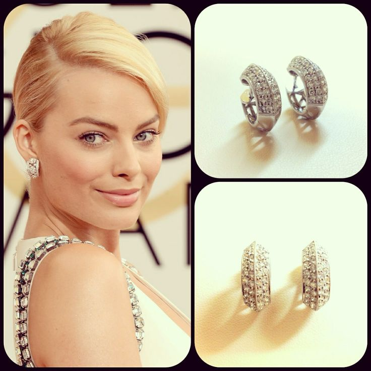Margot Robbie Wears Diamond Earrings At The Golden Globes Similar To Our Huggie Luxe