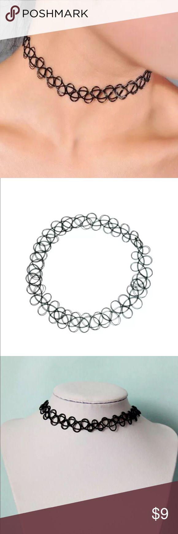 Black chocker Tattoo chocker stretch retro henna vintage elastic boho necklace Jewelry Necklaces