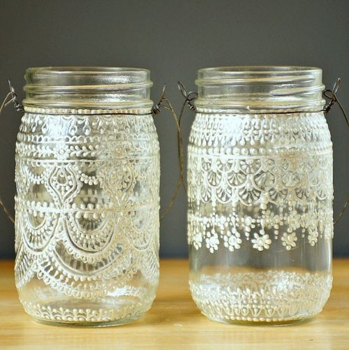 puffy paint ~decorated jars via Summer Whites / Wedding Style Inspiration /