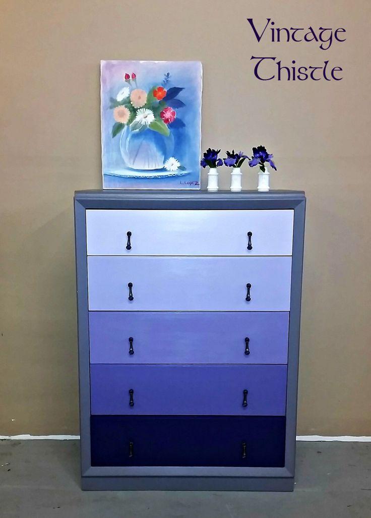 Vintage Hand Painted Purple Lavender Ombre Dresser Chest of Drawers by VintageThistleMarket on Etsy https://www.etsy.com/listing/469548186/vintage-hand-painted-purple-lavender