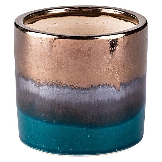For home-grown accents adorned with luminous hues, opt for the Mineral Metallic Pot from Have You Met Miss Jones.