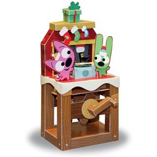 Papercraft imprimible y recortable de un juguete navideño con movimiento. Manualidades a Raudales.