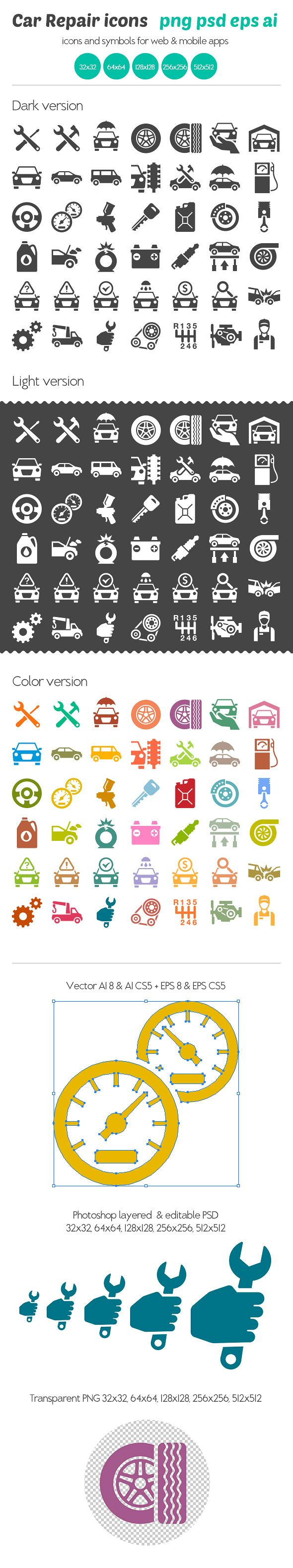 Car Repair Icons by Ottoson, via Behance