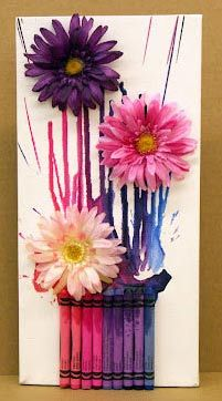 Project: Melted Crayon Spring Bouquet - CLICK HERE: Crayons Crafts, Idea, Melted Crayons Art, Mothers Day, Flower Art, Spring Bouquets, Crayons Canvas, Crayons Projects, Crayon Art
