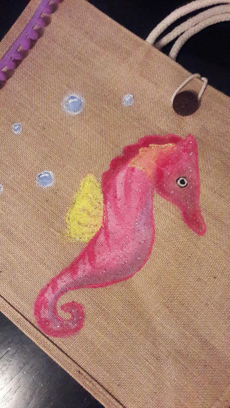 #style, #handpaintedbag, #summer, handpainted bag, #seahorse