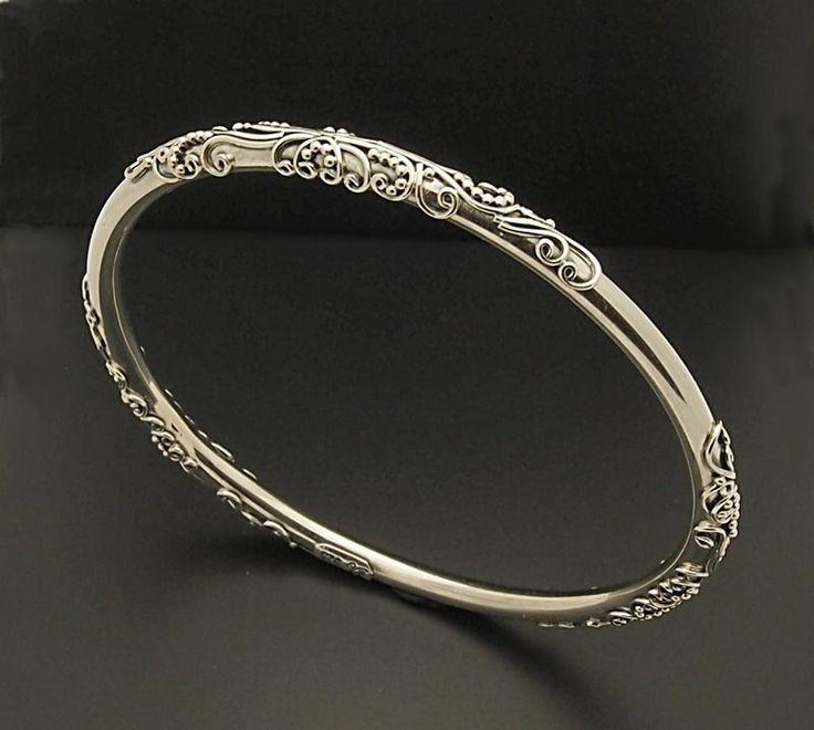 Details About Sterling Silver Hammered Bangle Bracelet