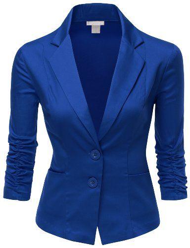 Doublju Women Simple Tailored Boyfriend Cropped Blazer Suit Jacket at Amazon Women's Clothing store: Blazers And Sports Jackets