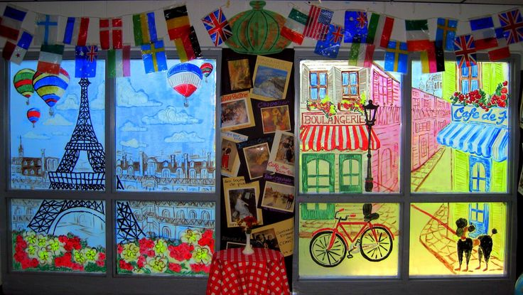 Cassie Stephens: In the Art Room: Let's Go to Paris! Fun way to cover a window, wall, or cabinet doors- doesn't have to be Paris and the kids could help!!!