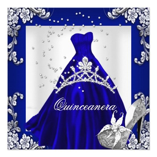 quinceanera 15th birthday royal blue dress gown 525x525 square paper invitation card - Royal Blue Quinceanera Invitations