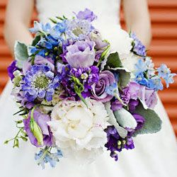 Bridal Bouquet w/Shades of Blue, Light and Dark Purple