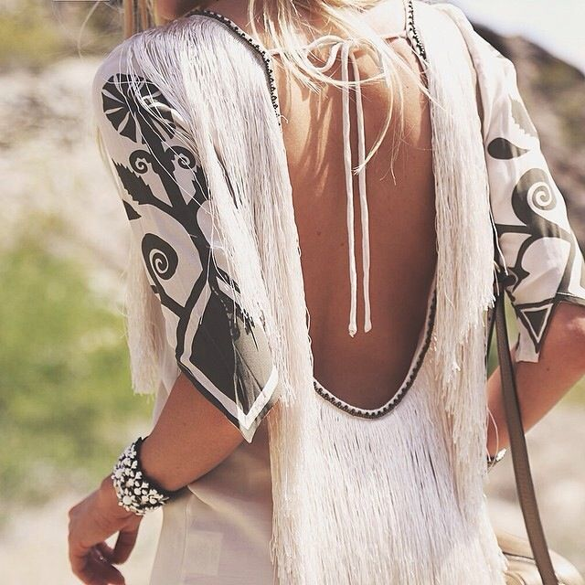 White fringe. Backless.