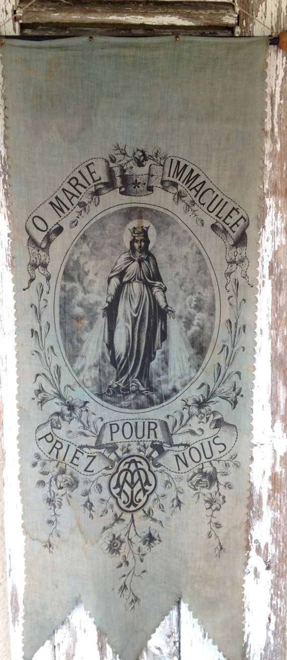 1800s antique French religious banner from histoire ancienne…