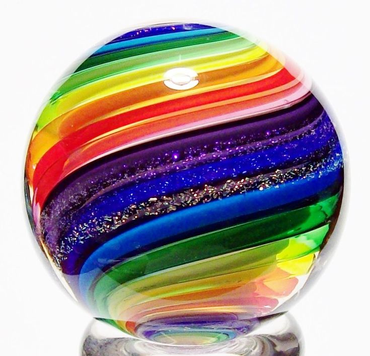 "EDDIE SEESE ART GLASS MARBLES 1-1/2"" RAINBOW DICHROIC DOUBLE TWIST MARBLE 