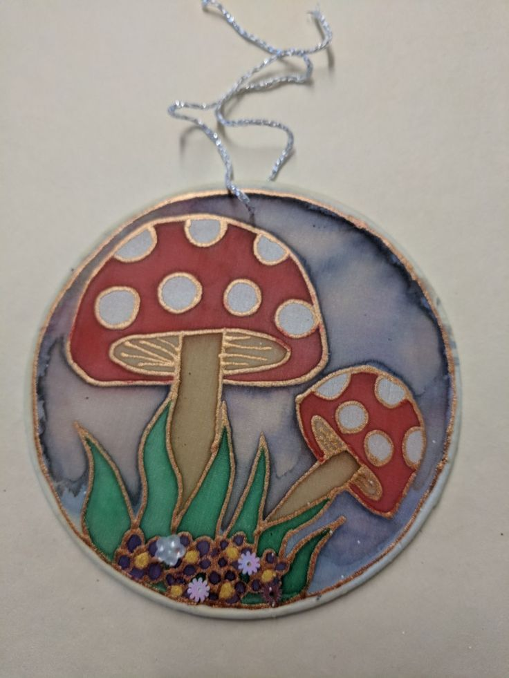 Toadstool themed silk bauble