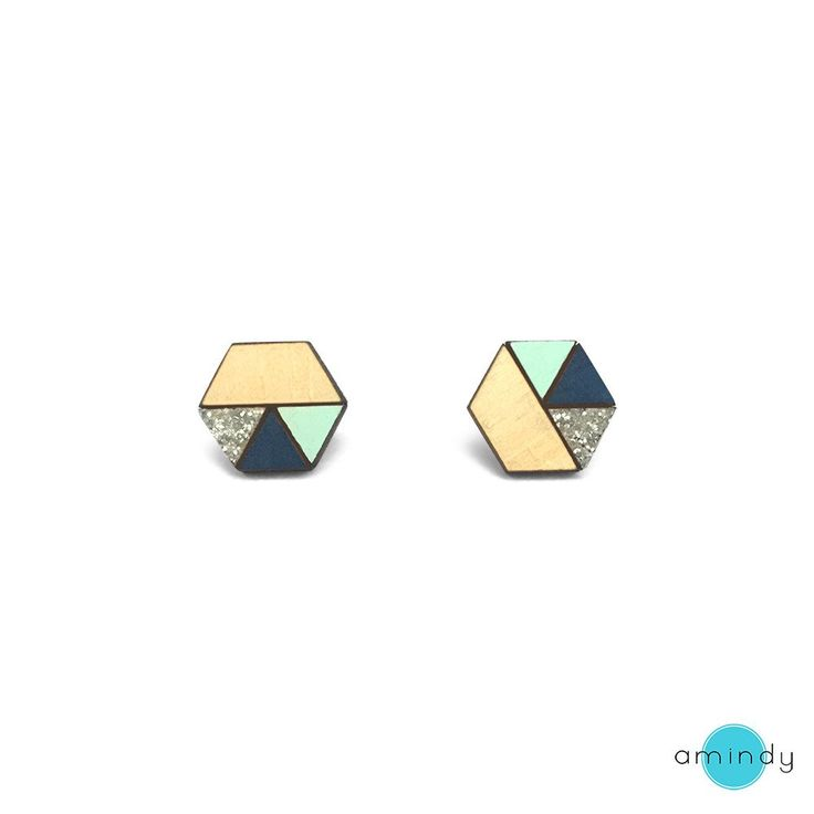 Amindy  - hand painted hexagon Sliced Earrings - Mint, Navy Blue - Silver Glitter - $22 - Shop online at www.amindy.com.au