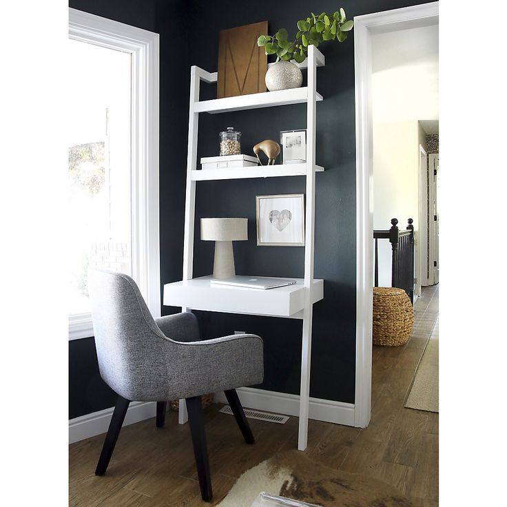 Shop Sawyer White Leaning Desk.  The Sawyer white leaning desk saves space and makes creative use of the wall instead.  Leaning desks look chic in the home office, bedroom or entryway.