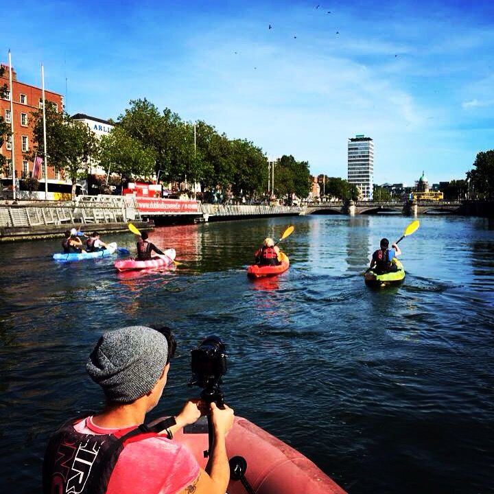 One of those glorious, shimmering days on the river that will keep me smiling right through the winter.  Out filming for Failte Ireland with #CityKayaking. #YourLiffey #DreamDareDo