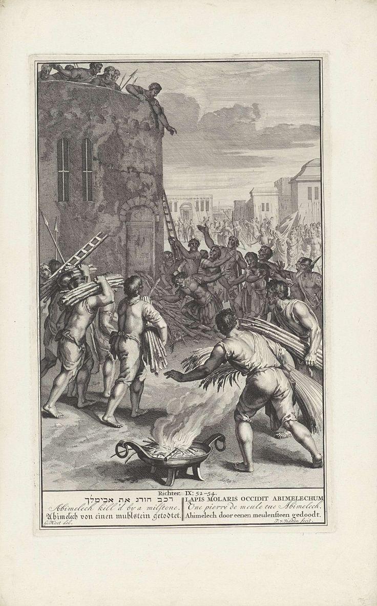 Jan van Vianen | Abimelech door een molensteen gedood, Jan van Vianen, 1705 - 1720 | Abimelech wordt door een molensteen gedood. De steen wordt vanaf de toren van Thebez  geworpen door een vrouw .  Illustratie van de Bijbeltekst Ri. 9: 52-54. Onder de voorstelling de titel in het Hebreeuws, Engels, Duits, Latijn, Frans en Nederlands.