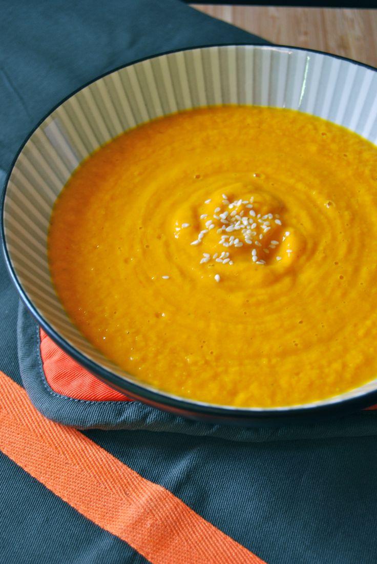 velouté de potimarron et carotte, accompagné de sa douceur de Kiri.