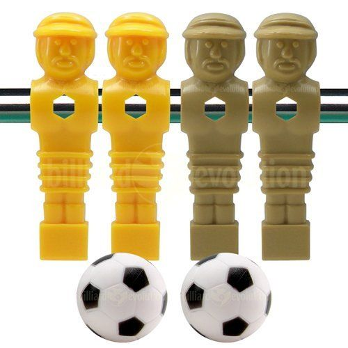 """4 Tan and Yellow Foosball Men and 2 Soccer Balls by Billiard Evolution. $11.77. These four tan and yellow foosball men will fit any table that uses standard 5/8"""" sized foosball rods. Set includes two tan and two yellow tournament style soccer men, and two foosballs, soccer style. The nut and bolt used to attach each foosball man to a foosball rod are not included."""