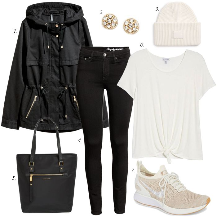 sahm casual outfit, parka, sneakers, casual, women, fashion, casual outfit, black skinny jeans, winter, spring, travel outfit
