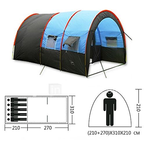 5-8 persons Tent Tunnel Tent Single Camping Tent Two Rooms Family Camping Tents Waterproof Portable Windproof Rain-Proof Dust Proof 2017 - $99.99
