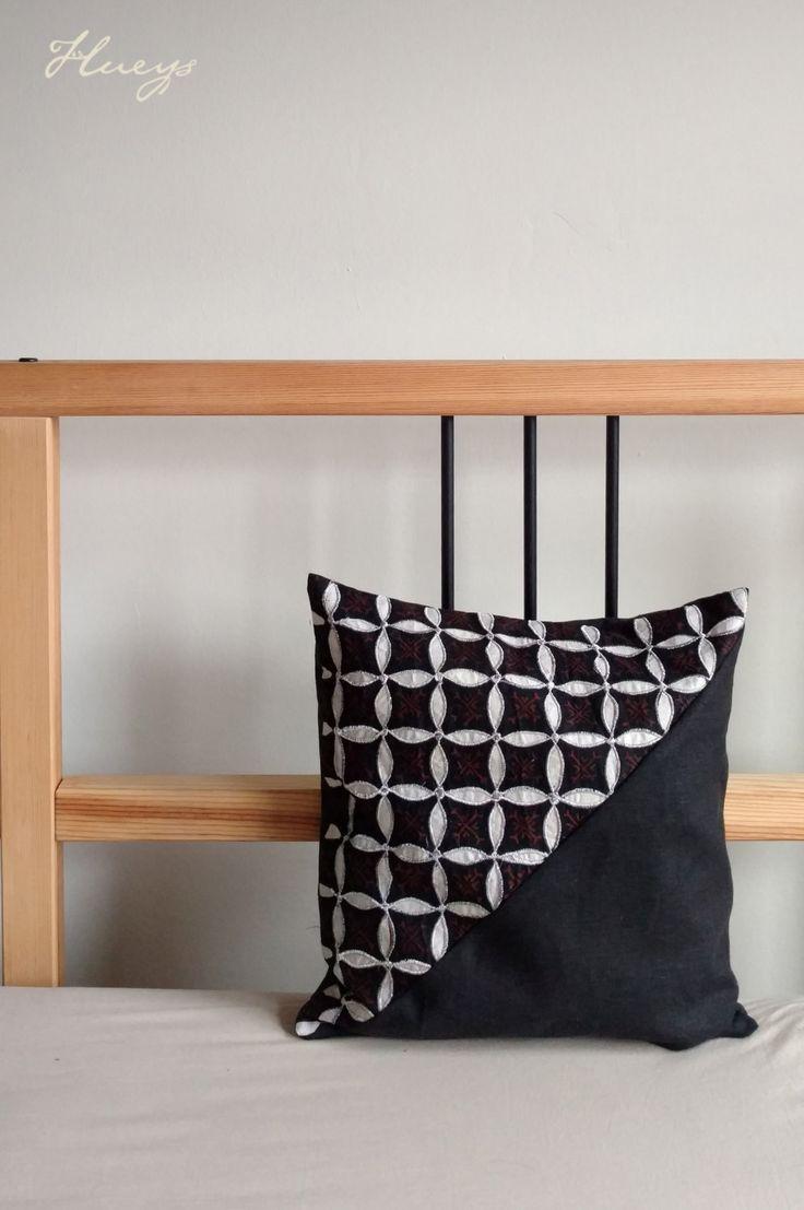 "Black Batik Cloth Pillow Cover, Boho Pillows, Black Pillows, Linen Pillow, Boho Chic Pillow Cover, Batik Pillow, Boho Decor 12""x12"" by Hueynie on Etsy"