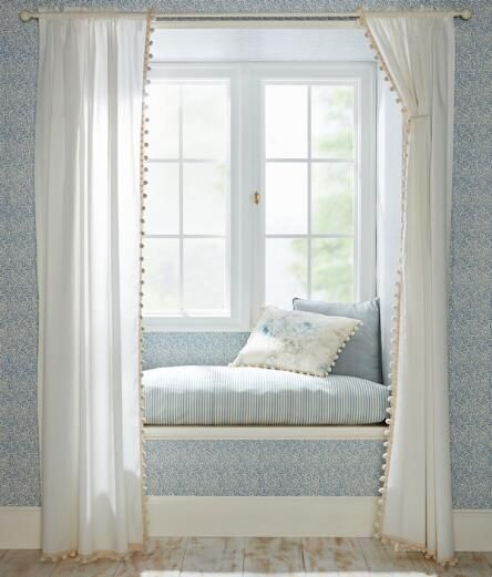 Best Blue White Interiors Images On Pinterest Country - Classic ball fringe curtains
