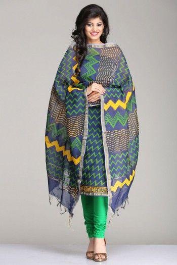 Stunning Blue Unstitched Kurta & Dupatta Set With Green Zigzag Striped Pattern Hand Block Print & A Gold Zari Border