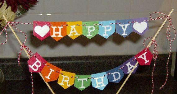 Rainbow Happy Birthday Cake Topper Rainbow Cake by TDesigns2
