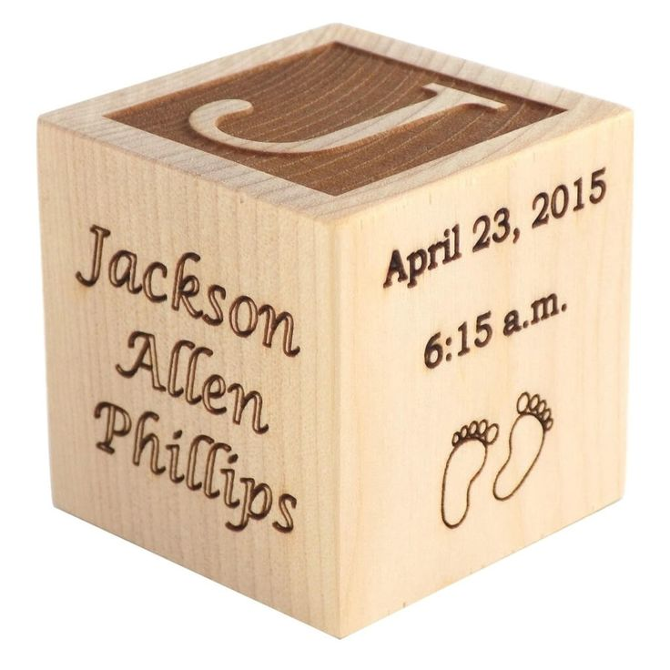 This personalized, laser engraved Baby's First Christmas ornament wooden block is the perfect way to commemorate a baby's first Christmas. Order now!