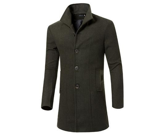 Fashion Brand Winter Mens Wool Jacket Single Breasted Slim Fit Solid Men's Wool Coat Men Long Overcoat Size M-3XL