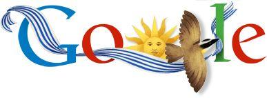 1. ¿Cuáles son los dos colores principales de la bandera de Uruguay?  2. Aparte de estos dos colores, describe como el Google Doodle representa la independencia de Uruguay. (Haz clik aqui para más información.) 3. ¿El Google Doodle está celebrando la independencia de Uruguay de qué otro país? ___________________________________________________________________trocitosgraficos:  Doodle: Día de la Independencia de Uruguay