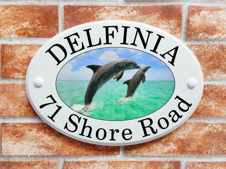 Dolphins leaping picture house sign (code 050)