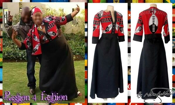 Modern Swati traditional dress. Bodice and sleeves in red Swazi print. With a flowy long black bottom of dress. Sleeve cuffs in black. #mariselaveludo #fashion #traditionalwear #passion4fashion #traditionaldress #swati