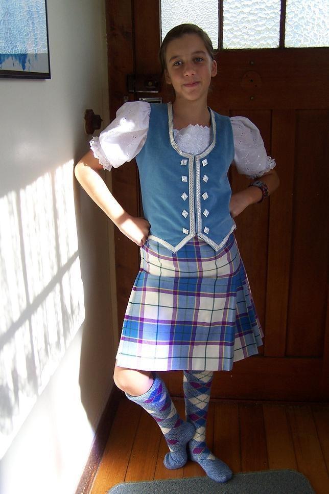 Kilt with light blue vest manx blue tartan Manx