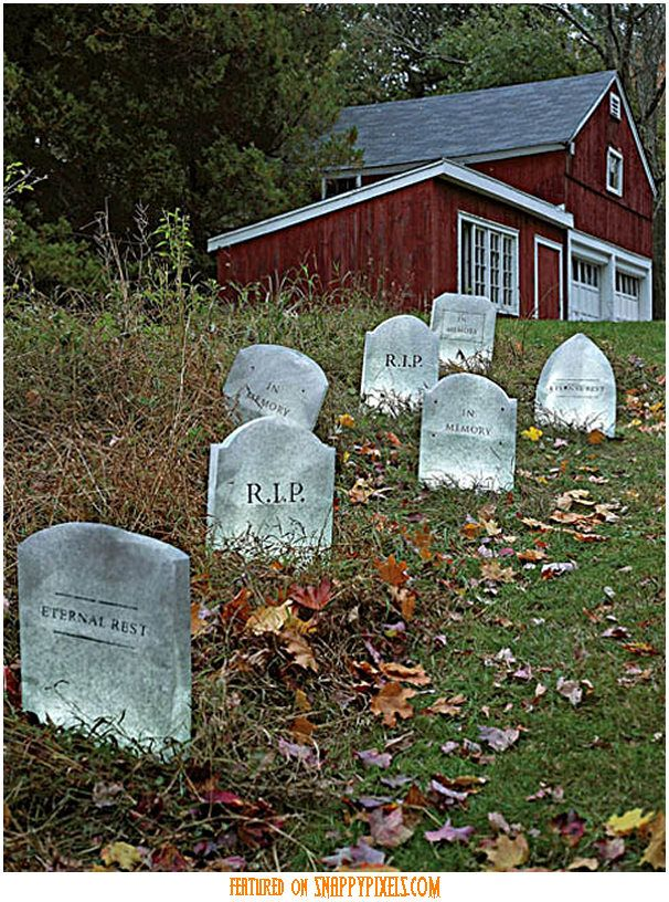 tombstone decorations for your lawn set out a few tombstones in your yard and let them work the graveyard shift on halloween these are made by trimming - Scary Halloween Yard Decorating Ideas