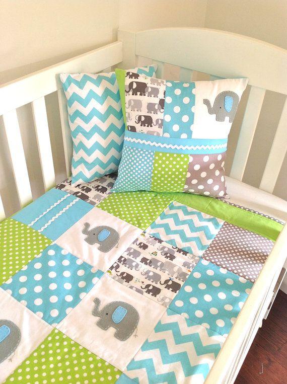 Elephant  Baby  Crib Quilt   and Cushion by AlphabetMonkey on Etsy