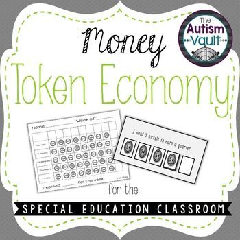 Class Money Token Economy for Special Education by The Autism Vault | Teachers Pay Teachers Functional and motivaing token economy for the classroom.  Students will earn quarters to exchange for reinforcers.