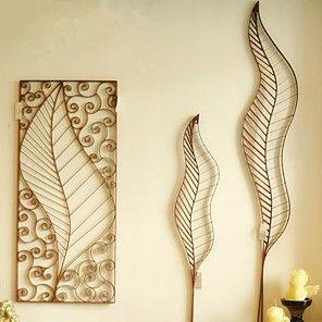 metall vägg konst vägg dekor konstformen av löv vägg dekor uppsättning av 3