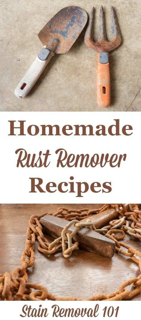Several natural homemade rust remover recipes, for both kitchen utensils, such as knives and cutlery, to larger objects such as tools and more. {on Stain Removal 101}