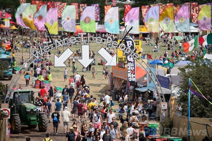 英南西部サマセット(Somerset)州ピルトン(Pilton)で開幕した世界最大級の野外音楽祭典「グラストンベリー・フェスティバル(Glastonbury Festival)」の会場(2014年6月26日撮影)。(c)AFP/LEON NEAL ▼27Jun2014AFP|世界最大の英野外音楽祭「グラストンベリー」が開幕 http://www.afpbb.com/articles/-/3018900 #Glastonbury_Festival