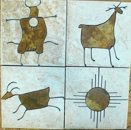 petroglyph tile murals,petroglyph tiles,southwest tile petroglyphs,ancient petroglyphs in tile,petroglyphs in accent porcelain tiles,petroglyphs in natural stone accent tiles 6x6: