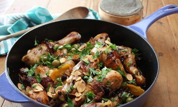 Maggie Beer's Chicken Drumsticks - heaven! Chicken, Raisins, Capers, Olives, Almonds and Vino Cotto