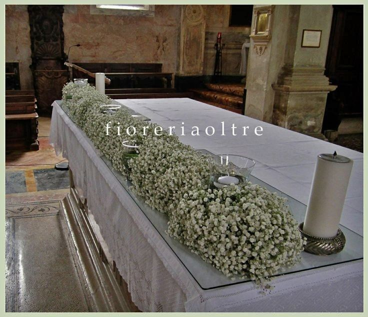 Fioreria Oltre/ Wedding ceremony/ Altar decoration/ Church wedding flowers/ Baby's breath  https://it.pinterest.com/fioreriaoltre/fioreria-oltre-wedding-ceremonies/