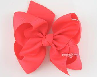 "Extra Large Hair Bow, 6"" Neon Coral Hair Bow, Girls Hair Bows 6 inch hair bows, big bow, giant bow, extra large bow, jumbo hair bows xl cute"