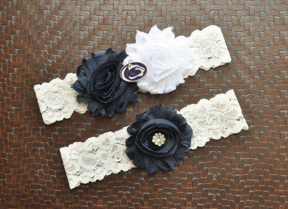 Penn State Wedding Garter Set Penn State by SportsGarterShop