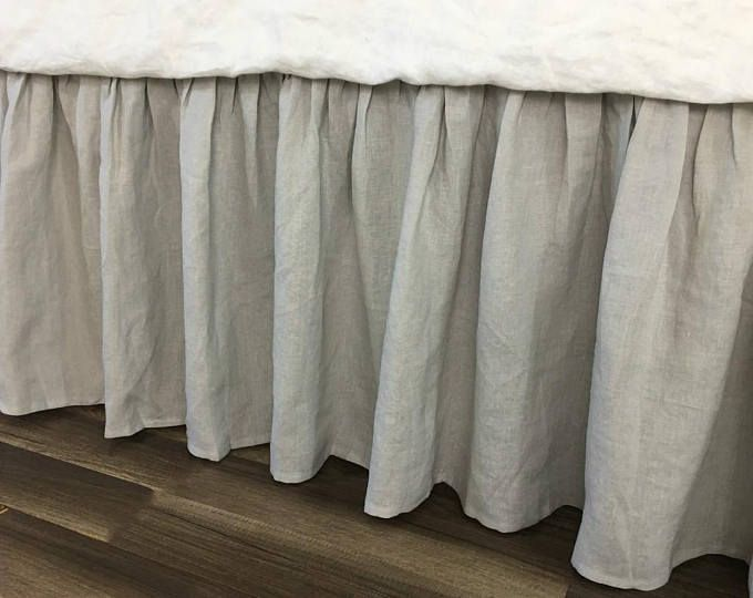 Stone Grey bed skirt handmade in natural linen, grey gathered bed skirt, grey bed ruffles, grey dust ruffles, bed skirts, grey bedding