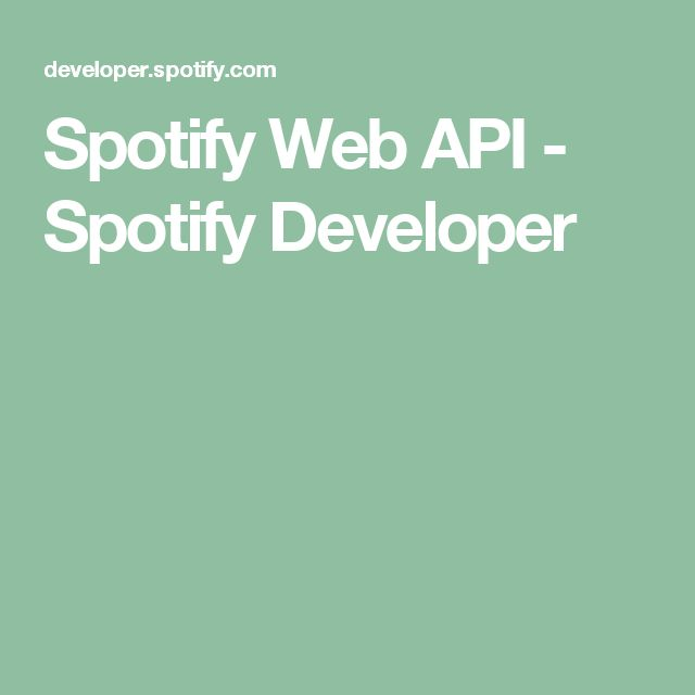Spotify Web API - Spotify Developer